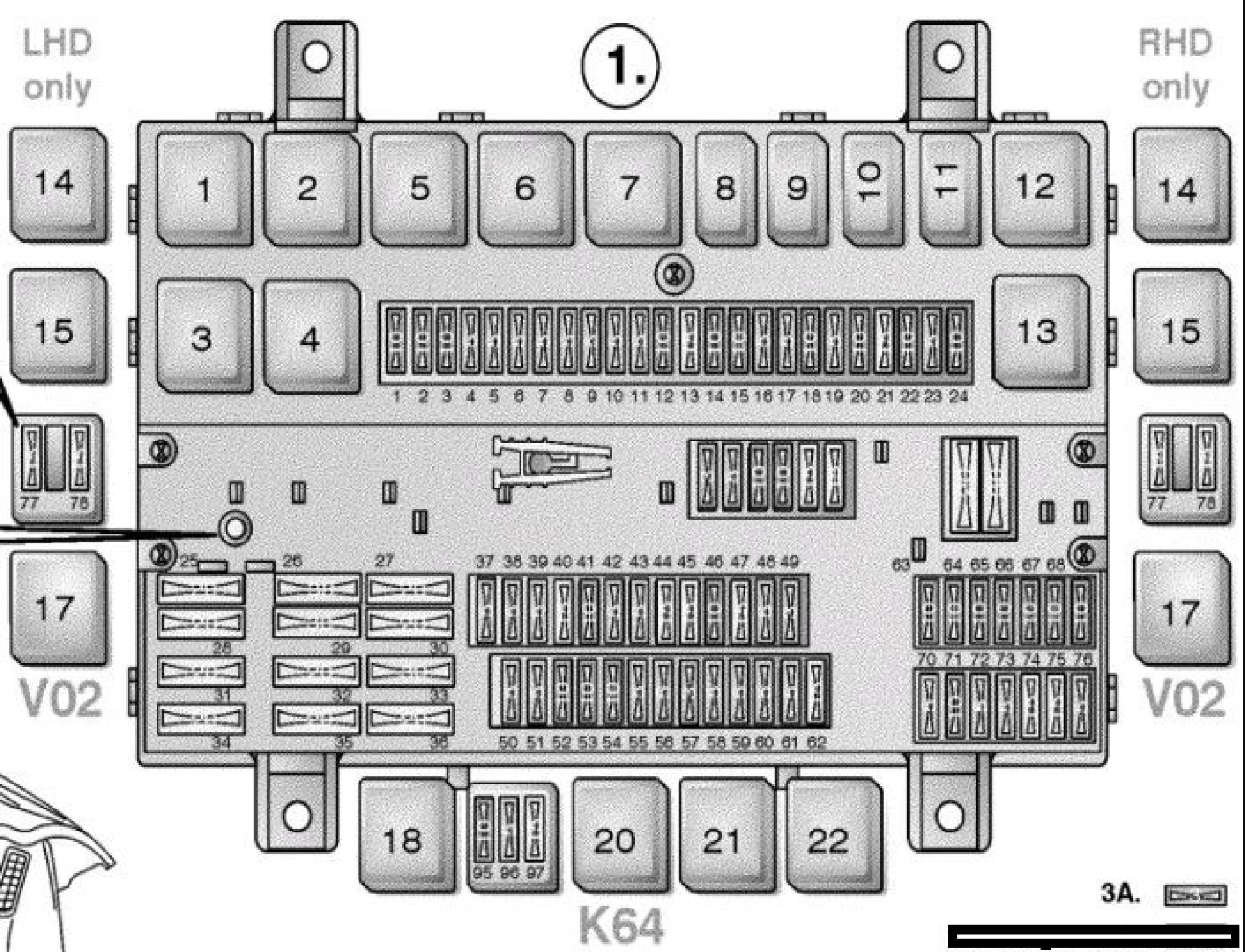 Volvo FM, FH Version 2 - Схема блока предохранителей и реле